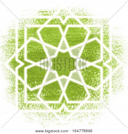 Glowing magic circle. Sacred geometry illustration. White oriental ornament on color background. Abstract geometric background. Strange magic mandala.