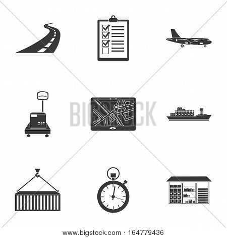 Logistic set icons in black style. Big collection of logistic vector symbol stock