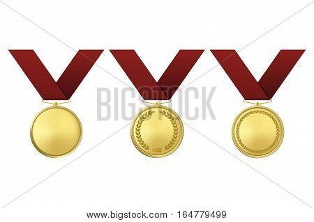 Golden award medals set isolated on white background. Vector EPS10 illustration.