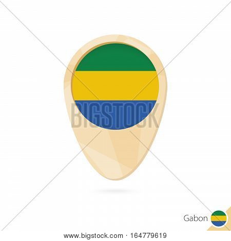 Map Pointer With Flag Of Gabon. Orange Abstract Map Icon.
