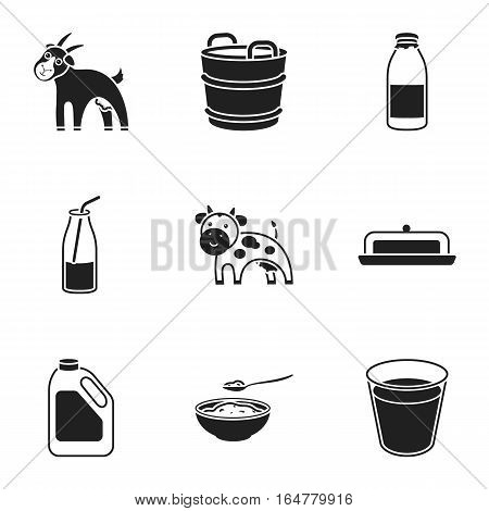 Milk set icons in black style. Big collection of milk vector symbol stock