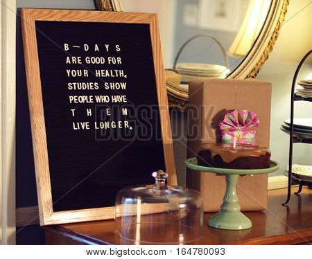 Letterboard birthday sign with birthday greeting saying