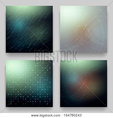 Vector set of four technological cosmic templates for cards. Geometric patterns on blur background on the theme of cosmos matrix data transmission universe galaxy Northern Lights.