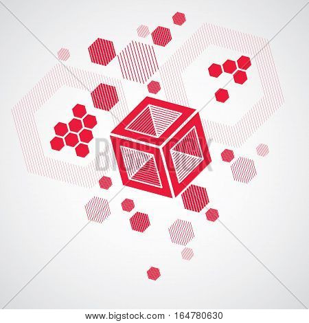 Bauhaus retro art vector red background made using grid circles and rhombuses. Geometric graphic 1960s illustration can be used as booklet cover design. Technological pattern.