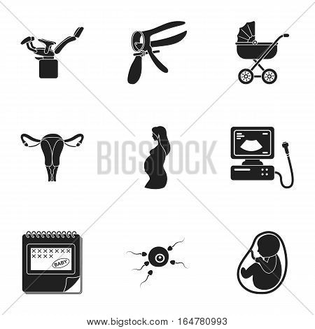 Pregnancy set icons in black style. Big collection of pregnancy vector symbol stock