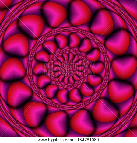 Abstract 3d background of concentric shapes creating the illusion of a three dimensional object. Red, purple and pink rotating layered background with stylized hearts