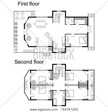 Black and White architectural plan of a double decker house. Layout of apartment with furniture in drawing view. With kitchen and bathroom, living room and bedroom. Plan of first and second floors.