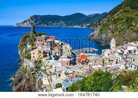 Vernazza one of five villages in Cinque Terre National Park and is a UNESCO World Heritage Site on Italian Riviera