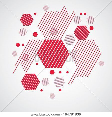 Vector abstract red background created in Bauhaus retro style. Modern geometric composition can be used as templates and layouts.