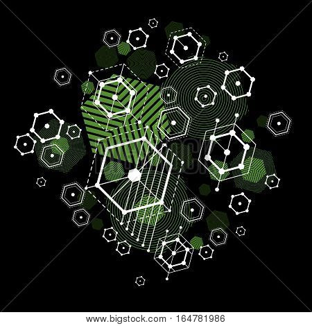 Vector abstract green background created in Bauhaus retro style. Modern geometric composition can be used as templates and layouts.