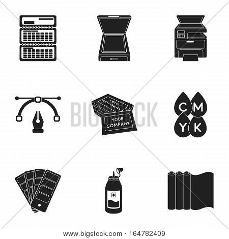 Typography set icons in black style. Big collection of typography vector symbol stock