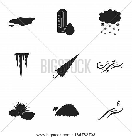 Weather set icons in black style. Big collection of weather vector symbol stock