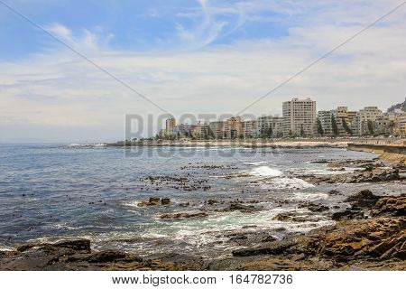 Panoramic view of Sea Point, one of Cape Town's most affluent and densely populated suburbs, located between Signal Hill and the Atlantic Ocean in South Africa.