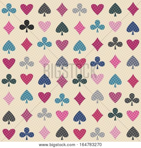 Seamless background pattern. Card suits seamless pattern. Vector illustration