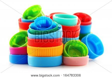 Composition With Colorful Plastic Bottle Caps