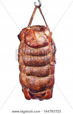 Piece of smoked meat hanging on a hook isolated on white
