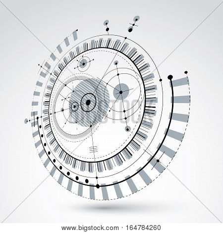 Three-dimensional mechanical scheme monochrome vector engineering drawing with circles and geometric parts of mechanism. Technical plan can be used in web design