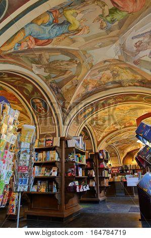 VILNIUS, LITHUANIA - DECEMBER 29, 2016: The bookshop inside Vilnius University