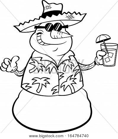 Black and white illustration of a snowman wearing a straw hat and holding a tropical drink.