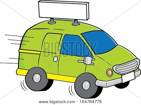 Cartoon illustration of a speeding van with a sign.
