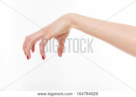 Female hand evil. Isolated on white background.