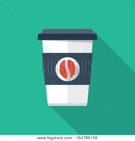 Disposable coffee cup icon with coffee beans logo, Vector illustration flat design with long shadow.