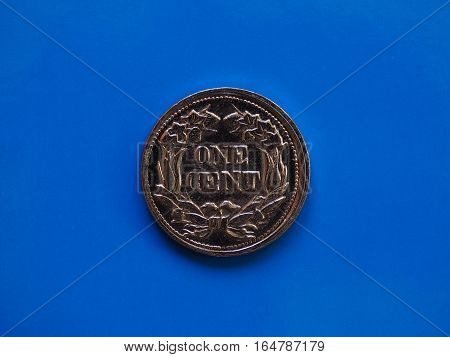 One Cent Year 1857 Over Blue
