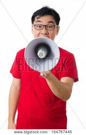 Asian Chinese Man Wearing Red Shirt Holding Loudspeaker