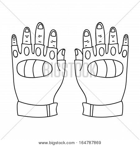 Fingerless gloves icon in outline design isolated on white background. Paintball symbol stock vector illustration.