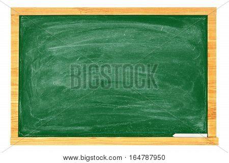 rubbed out chalkboard with chalk isolated on white