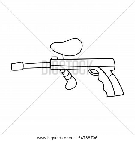 Paintball gun icon in outline design isolated on white background. Paintball symbol stock vector illustration.