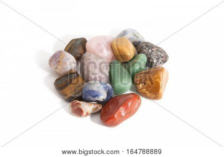 natural gemstones and crystals on white ифслпкщгтв