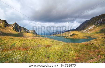 alpine lake Schrecksee in sunlight in Germany