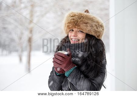 Happy Young Woman In Winter Nature