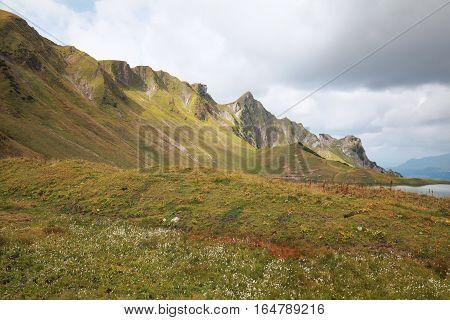 mountain view and alpine lake Bavaria Germany
