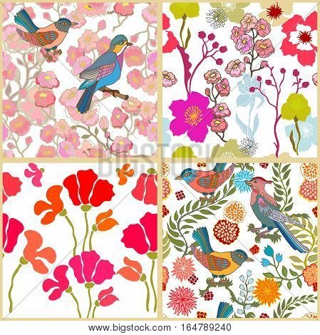 Chinese, Japanese, Korean motifs. Vintage textile collection.