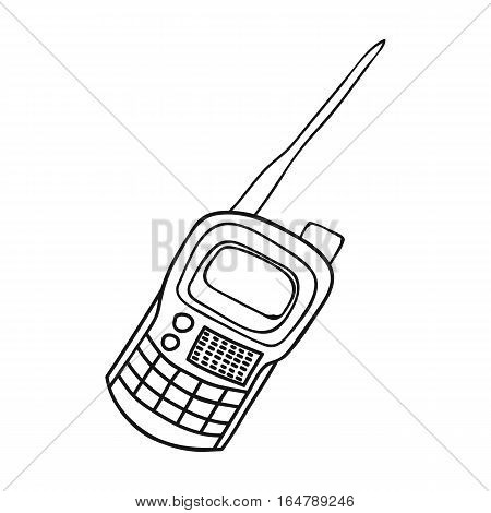 Handheld transceiver icon in outline design isolated on white background. Paintball symbol stock vector illustration.