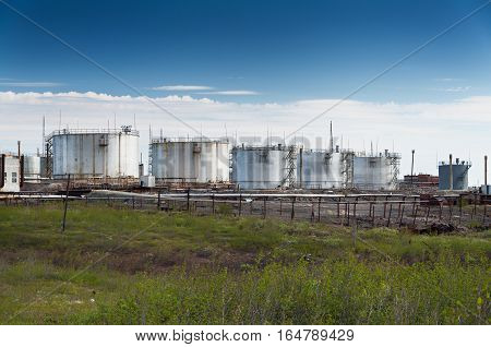 Oil storage in the Arctic tundra. Industrial landscape.