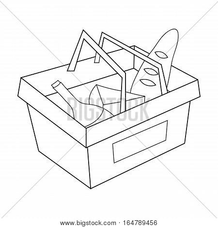 Shopping basket full of groceries icon in outline design isolated on white background. Supermarket symbol stock vector illustration.