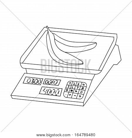 Store scale icon in outline design isolated on white background. Supermarket symbol stock vector illustration.