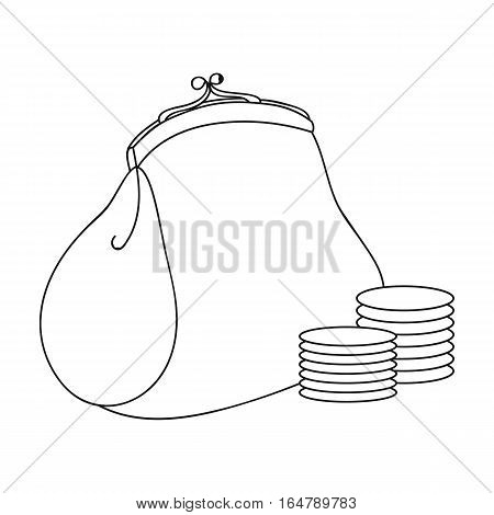Purse with coins icon in outline design isolated on white background. Supermarket symbol stock vector illustration.