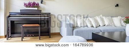 Room With Piano And Sofa