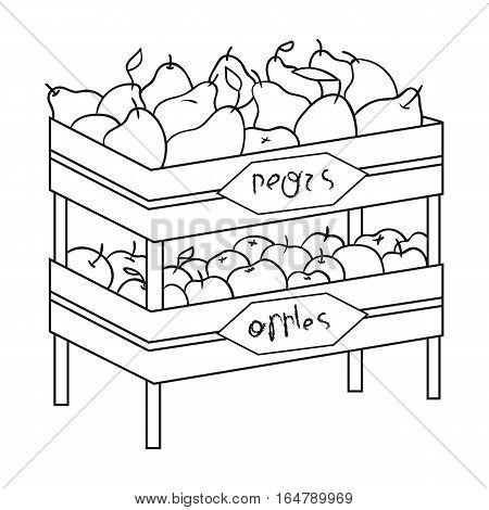 Raw food lying on rack shelves icon in outline design isolated on white background. Supermarket symbol stock vector illustration.