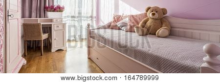 Pink Girl Room With Bed