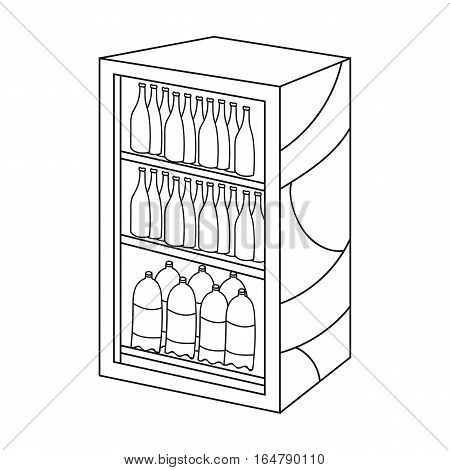 Fridge with drinks icon in outline design isolated on white background. Supermarket symbol stock vector illustration.