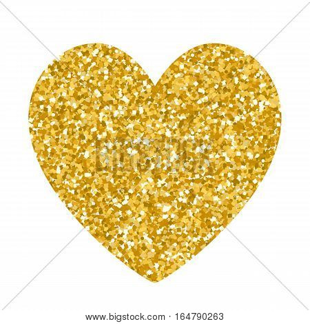 Valentines day glitter gold heart isolated on white background. Design for holiday gift card, banner, flyer.
