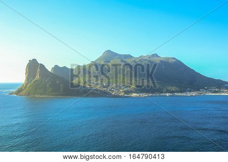 The view of Sentinel peak in Hout Bay from the scenic Chapman's Peak Drive, Cape Town, South Africa.