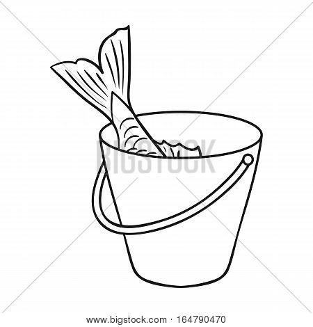 Fish in the bucket icon in outline design isolated on white background. Fishing symbol stock vector illustration.