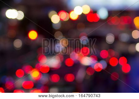 Defocused night city street lights bokeh background