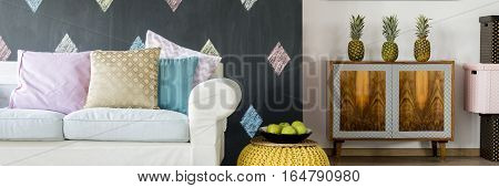 Comfortable Sofa With Pastel Cushions